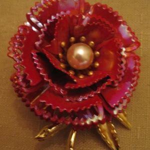 Enamel Pearl Flower Brooch Vintage 1960's